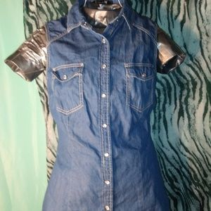 Forever 21 denim sleeveless button down top